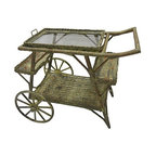 "Wicker Rolling Bar - Vintage wicker tea cart or bar cart on wheels to easily move around; has a detachable tray on top. Wheels, 14""."
