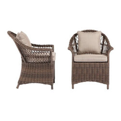 Home Decorators Collection - Martingale Open Weave Wicker Chairs, Set of 2 - If you prefer to mix and match your set, these wicker armchairs are a great start! They exude European/island elegance.