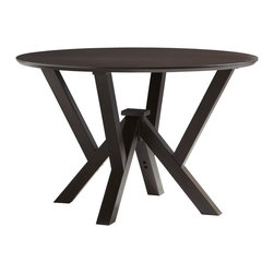 Powell - Powell Prism Wenge Round Dining Table X-314-893 - Add spacious dining space to a modern or contemporary dining room with the sleek Prism Round Dining Table. The table features a smooth top that provides ample space for family and friends to gather around. A unique designed table base adds interest to the simple top. Finished in a rich, warm Wenge, the Prism table will complement a range of decor colors. Some Assembly Required.