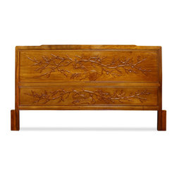 """China Furniture and Arts - Rosewood Cal. King Size Cherry Blossom Motif Headboard - Sturdy and durable, our solid rosewood California King-size headboard is built in that tradition. Beautiful details in its design, with hand carved cherry blossom motif. Hand-applied natural wood stain enhances the beauty of the material. Base measures 76.5"""" wide."""