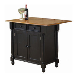 """Sunset Trading - Sunset Selections Kitchen Island - Enhance the beauty and warmth of your kitchen while extending your work surface, dining and storage space with this finely hand crafted Drop Leaf Island from the Sunset Trading Sunset Selections Collection. This versatile piece is perfect for preparing family meals or serving drinks and appetizers when entertaining guests. Features include 2 drawers for storing cooking utensils; 2 doors underneath open to an adjustable shelf for convenient storage of pots and pans or other large kitchen/entertaining items. The drop leaf instantly converts this island into a breakfast bar perfect for quick meals or casual entertaining. The drop leaf allows for accommodating 2 bar stools (sold separately). Alone or paired with coordinating bar stools (sold separately) this classic Drop Leaf Island will be sure to complement your kitchen decor and provide a welcome gathering place for your family and friends for years to come! Features: -Drop leaf island. -Sunset Selections collection. -Available in combination of antique black and cherry, rich honey light oak, or combination of nutmeg and honey light oak finish. -Asian ramon hardwood construction. -Hand crafted. -Adjustable shelf in the storage compartment. -Two drawers and two large opening doors for substantial storage space. -Manufacturer provides one year warranty against defects. -Overall dimensions: 42"""" H x 42"""" W x 22"""" D."""