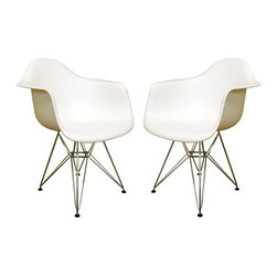 "2 Eiffel Molded Chrome Arm chairs, White - This versatile, contemporary chair is a barebones take on the shape of an armchair. The seat of Eiffel chair is made from a very heavy-duty, strong plastic with a matte finish and is supported by an equally strong steel base, which is covered with a layer of high-shine chrome. The eiffel wire base chair has an ""Eiffel Tower"" style steel base and plastic shell seat. Four black feet are included to protect hardwood flooring. Very up-to-date, your inner sense of style will revel in the trendiness of this chair. Add several Eames Era Eiffel Base Side Chairs around your kitchen table, and watch as the room is instantly transformed with a classic retro-inspired look. This versatile chair is a popular choice for kitchens, and works just as well as additional seating in the living room, bedroom, or office."