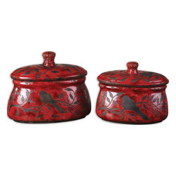 Bird on Branch Red Ceramic Canisters Set of 2 - *Crackled, Bright Red Ceramic With Aged Black Undertones. Removable Lids. Sizes: Sm-11x9x6, Lg-12x12x6.