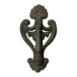 "AJchibp-2977-02 - Cast Iron Antique Brown Door Knocker - Cast iron antique brown door knocker. Measures 8"" x 5"". No assembly required."