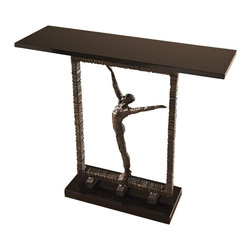 Global Views - Reach Out Of The Box Console Table - Features a beautiful black granite top.