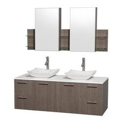 Wyndham Collection - 60 in. Wood Bathroom Vanity Set - Includes two sinks, white man-made stone top, two medicine cabinets with mirrors, drain assemblies and P-traps for easy assembly. Faucets not included. Square Carrera marble sinks. Two functional doors. Concealed soft close door hinges. Modern brushed chrome door pulls. Unique and striking contemporary design. Four functional drawers. Fully-extending soft-close drawer slides. Deep doweled drawers. Single-hole faucet mount. Plenty of storage space. Eight-stage preparation, veneering and finishing process. Highly water-resistant low V.O.C. sealed finish. Metal exterior hardware with brushed chrome finish. Wall-mount design. Six glass shelves. Three shelves behind each mirror. Mirror glass thickness: 0.75 in.. Warranty: Two years limited. Made from beautiful veneers over highest quality grade E1 MDF. Gray oak finish. Door: 17.25 in. W x 20.5 in. H. Drawer: 12.63 in. W x 10.13 in. H. Glass shelves: 4 in. deep. Mirror: 17.75 in. W x 30 in. H. Medicine cabinet: 59.25 in. W x 6 in. D x 30 in. H (82 lbs.). Vanity: 60 in. W x 22.25 in. D x 21.25 in. H (124 lbs.). Handling Instructions. Installation Instructions - Medicine Cabinet. Installation Instructions - VanityModern clean lines and a truly elegant design aesthetic meet affordability in the Wyndham Collection Amare Vanity. Each vanity provides a full complement of storage areas behind sturdy soft-close doors and drawers. A wall-mounted vanity leaves space in your bathroom for you to relax. The simple clean lines of the Amare wall-mounted vanity family are no-fuss and all style.