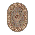 Tayse Rugs - Elegance Blue and Beige Oval: 6 Ft. 7 In. x 9 Ft. 6 In. Rug - - The detailed oriental medallion design of this area rug make a statement of elegance to any room. Soft polypropylene fibers make it soft, warm, and easy to clean. Rich hues of gray-blue, gold, red and ivory. Vacuum and spot clean.  - Square Footage: 63  - Pattern: Oriental  - Pile Height: 0.39-Inch Tayse Rugs - 5396  Blue  7x10 Oval