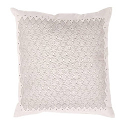"""Jaipur Rugs - Jaipur Rugs Contemporary Tribal Pattern Flax Cotton Pillow // 18""""X18"""" - A beautiful collection of pillows in chambray cotton fabric with a super soft hand feel. Simple modern patterns in soft pastel colours create a casual easy to use range."""
