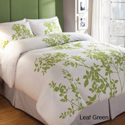 None - Silent Woods Cotton 3-piece Duvet Cover Set - Update your bedding with a summer-weight duvet.