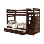 """Acme - Espresso Finish Wood Twin Over Twin Bunk Bed Set with Storage Drawer Steps - Espresso finish wood twin over twin bunk bed set with storage drawer steps and slide out trundle. This set features a twin over twin bed frame and a twin slide out trundle and end stair unit with chest of drawers built in. Measures 98"""" x 43"""" x 68' H. Some assembly required."""