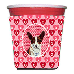 Caroline's Treasures - Corgi Valentine's Love and Hearts Red Solo Cup Hugger - Fits red solo cup or large Dunkin Donuts / Starbucks ice coffee cup. Collapsible Foam. (16 oz. to 22 oz. Red solo cup) Toby Keith made the cups more popular with his song. We make them nicer to carry around. The top of the cup is still exposed to add your name with a marker too. Permanently dyed and fade resistant design. Great to keep track of your beverage and add a bit of flair to a gathering. Match with one of the insulated coolers or coasters for a nice gift pack. Wash the hugger in your dishwasher or clothes washer. Design will not come off.