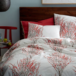 Organic Cotton Sakura Duvet Cover + Shams, Desert Sunset - Bright red cherry blossoms on crisp white bedding would be a pleasure to wake up to on gray days.
