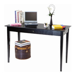 """Mega Home - Wood Writing Desk /Utility Table - This sleek contemporary desk will be a wonderful addition to your home office, offering a clean look with great function. Features: -Straight edges, clean line.-Wood construction.-Finish: Espresso.-Desk Type: Computer Desk.-Top Finish: Espresso.-Base Finish: Espresso.-Accent Finish: Espresso.-Powder Coated Finish: No.-Gloss Finish: No.-UV Finish: No.-Top Material: Wood.-Base Material: Wood.-Non-Toxic: Yes.-Water Resistant: No.-Stain Resistant: No.-Heat Resistant: No.-Style: Contemporary.-Distressed: No.-Eco-Friendly: No.-Cable Management: No.-Keyboard Tray: No.-Height Adjustable: No.-Drawers Included: Yes -Number of Drawers: 1.-File Drawer: No.-Safety Stop : Yes.-Locking Drawer: No.-Core Removable Drawer Locks: No.-Ball Bearing Glides: No.-Drawer Weight Capacity: 10 lbs..-Pencil Drawer: No.-Jewelry Tray: No.-Exterior Shelving: No.-Cabinets Included: No.-Ergonomic Design: No.-Scratch Resistant: No.-Chair Included: No.-Legs Included: Yes -Number of Legs: 4.-Leg Glides: No..-Casters Included: No.-Hutch Included: No.-Treadmill Included: No.-Cork Back Panel: No.-CPU Storage: No.-Built In Outlet: No.-Built In Surge Protector: No.-Finished Back: No.-Tipping Prevention: No.-Modular: No.-Commercial Use: No.-Solid Wood Construction: No.-Swatch Available: No.-Recycled Content: No.Specifications: -FSC Certified: No.-EPP Certified: No.-CARB Compliant: No.-ISTA 3A Certified: No.-General Conformity Certificate: No.-Green Guard Certified: No.-ANSI BIFMA Certified: No.-SCS Certified: No.-ADA Compliant: No.-FIRA Certified: No.-GSA Approved: No.Dimensions: -Overall Height - Top to Bottom: 30.12"""".-Overall Width - Side to Side: 47.2"""".-Overall Depth - Front to Back: 22.24"""".-Desk Return: Yes.-Drawer: -Drawer Interior Height - Top to Bottom: 3"""".-Drawer Interior Width - Side to Side: 20"""".-Drawer Interior Depth - Front to Back: 15""""..-Legs: -Leg Width - Side to Side: 2"""".-Leg Depth - Front to Back: 2""""..-Overall Product Weight: 36 lbs.Assembly: -So"""