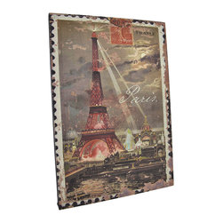 Zeckos - Colorful Vintage Evening in Paris Eiffel Tower Postage Stamp Canvas - This printed canvas features an enlarged image of a vintage postage stamp from Paris, France with a colorful scene of the night life around the Eiffel tower. It measures 15 inches tall, 10 3/8 inches wide, 5/8 of an inch wide and mounts to the wall with a single nail by the picture hanger on the back of the wooden frame. This piece is a great addition to French themed decor, and makes a great gift for the worldly traveler.