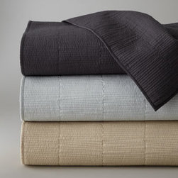 """Donna Karan Home - Donna Karan Home Full/Queen Quilt, 88"""" x 92"""" - Donna Karan Home's """"Urban Oasis"""" bed linens collection provides subtle texture in equally subtle colors. Select color when ordering. Moire jacquard linens with 7"""" flange are made of cotton. Quilted accessories with linear stitching are cotton voile....."""