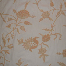 Crewel Fabric World by MDS - Crewel Fabric Marigold Vine Peach on Off White Cotton- Yardage - Artisans in a remote mountain village in Kashmir crewel stitch these blossoms, vines and leaves by hand, resulting in a lush pattern of richly shaded wool yarns on Linen, Cotton, Velvet and Silk.