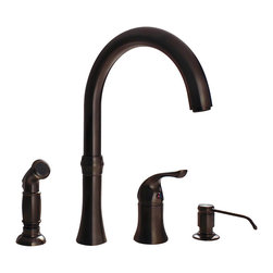 "MR Direct - Oil Rubbed Bronze 4 Hole Kitchen Faucet - The 710-ORB Four-Hole Kitchen Faucet is available in a brushed nickel, oil-rubbed bronze, or chrome finish. It contains a 360 degree spout and includes a soap dispenser and side spray for easy cleaning. The dimensions for the 710-ORB are 12 5/8"" tall with a 9 7/8"" spout reach and it is ADA approved. The faucet is pressure tested to ensure proper working conditions and is covered under a lifetime warranty. The 710-ORB has so many great components that are sure to make your kitchen sink user-friendly."