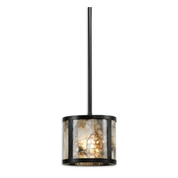 Uttermost - 1 Lt Mini Pendant - Marble slabs accented with dark oil rubbed bronze metal.