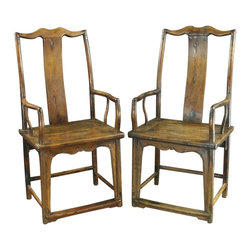 EuroLux Home - Pair Consigned Antique Chinese Official's Armchairs - Product Details