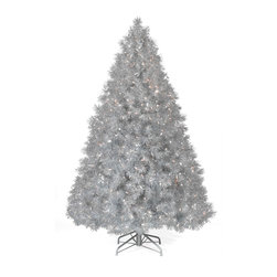 Silver Tinsel Christmas Tree - The Silver Tinsel Tree will bring instant holiday cheer with its vintage good looks. Reminiscent of the silver tinsel strands that decorated the trees of your youth, our silver Christmas tree brightens a room with its professionally strung, beautiful clear lights. To complete the look, our Silver Tinsel Tree also comes with a matching silver premium folding metal stand. Celebrate your holiday with this timeless beauty!