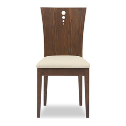 Bryght - 2 x Flora Khaki Fabric Upholstered Cocoa Dining Chair - The Flora dining chair offers sophistication with a modern twist with its beautifully grained flared back design. The two-dimensional curved backrest accentuated by three solid stainless steel bolts and a firm padded seating offers sturdiness with dependable comfort.