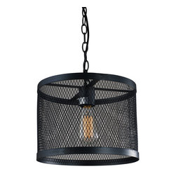 """IFN Modern - Garrison 1 Light Pendant in Black - This Garrison 1-light Pendant in Black  has a bulb suspended by a chain which is surrounded by a cylindrical metal mesh shade with black finish for a classy look. This contemporary pendant light uses a 60W incandescent bulb (sold separately) to light up your room.â— Metalâ— Black Finishâ— Incandescent 60 Watt Bulb (Not Included)â— 4lbsâ— 110 Voltsâ— Shade Diameter - 13"""""""