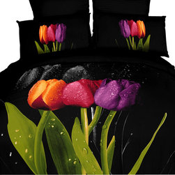 Dolce Mela - Black Modern Bedding Duvet Cover Set Dolce Mela DM416, King - Tulips are the most beautiful flowers and bring color and freshness.  If you love tulips you will be amazed with this decorating bedding ensemble and its vivid print of tulips and water drops on a black backdrop to create a fabulous contemporary gaze.