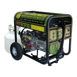 Buffalo Tools - Sportsman Series Propane 7000 Watt Generator - The Sportsman Propane 7000 Watt Portable Generator can power common household appliances and power tools. It is equipped with four 120 volt outlets  a 12 volt DC outlet for battery charging  and a 120/240 volt outlet. Use this generator immediately with the recoil start or install a motorcycle battery (not included) to activate the electric start feature. A generator of this size is ideal for camping and running essential household appliances during power outages. This generator is a real workhorse with great features like a 13HP 4-Stroke OHV engine  Automatic Low Oil Shutdown and an Automatic Voltage Regulator for an affordable price. It boasts an engine run time of 8 hours at 50% on a common 20Lb (gas grill type) cylinder (LPG cylinder not included). A 5 foot propane fuel hose with a regulator is included for your added convenience. The engine is surprisingly quiet; it runs at less than 80 Db.  This is a great generator for anyone who needs affordable power. Propane has several distinct advantages over gasoline generators. Propane burns cleaner than gas engines. Carbon monoxide emissions run up to 40% lower. Propane will not degrade  so you can keep several propane tanks on hand for emergencies and store them for an unlimited amount of time. Since this generator runs on propane you never have to worry about the fuel going bad or having the carburetor getting fouled due to degenerated gasoline - a common problem with gasoline powered small engines. Unfortunately  this model cannot be converted to operate with natural gas.  7000 surge watts/6000 running watts Itâs easy to transport and maneuver when the included wheel kit is installed Uses a standard gas grill style LPG tank  The 13 HP  4 stroke OHV  recoil start engine  delivers maximum performance  The generator runs on clean  quiet and efficient liquid propane gas (LPG)  so you never have to worry about bad gasoline fouling the engine  5 ft. Regulator