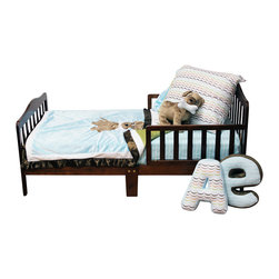 """Puppy Pal Boy - Toddler Set (4pc) - Let the Puppy out to play with """"One Grace Place"""" Puppy Pal Boy collection.  This 4pc set includes sheet, coordinating quilt, pillowcase or sham, and stuffed toy. Crib sheet in the collections signature print """"Give a Dog a Bone"""" cotton print fabric in soft blue.  Puppy Pal coordinating quilt  is amazing and so fun!.  Soft minky on both sides make this the perfect blanket anytime and anywhere!  The collections """"Puppy Pal"""" is appliqu�d on the front and the back of this fun quilt!  Front in blue and back in green --all in Minky!  Quilt is trimmed in chocolate brown using our soft satin. Set come with pillowcase (shown) OR pillow sham.  PIllowcase is doggy dip colorful pattern with soft blue minky trim.  Pillow Sham is soft blue minky with white and brown minky trim. Stuffed toy dog is soft brown minky. Requests will be honored if supplies allow."""
