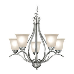 Woodbridge Lighting - Woodbridge Lighting Beaconsfield 5-light Satin Nickel Chandelier - Fixture finish: Satin nickel Shades: Frosted seedy glass Requires five (5) 60-watt max medium base bulbs (not included)