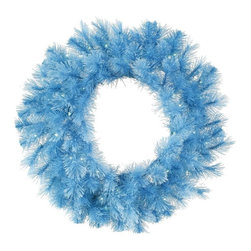 Vickerman Company - Vickerman 30 in. Baby Blue Cashmere Pre-Lit LED Wreath - Blue Lights - A121631LE - Shop for Holiday Ornaments and Decor from Hayneedle.com! Show your spirit with the bright and fun Vickerman 30 in. Baby Blue Cashmere Pre-Lit LED Wreath - Blue Lights. This wreath makes a statement as a holiday decoration. Its baby blue color is non-traditional which makes it fun. Pre-lit with fifty LED light bulbs this wreath will add merriment to your space day and night.About VickermanThis product is proudly made by Vickerman a leader in high quality holiday decor. Founded in 1940 the Vickerman Company has established itself as an innovative company dedicated to exceeding the expectations of their customers. With a wide variety of remarkably realistic looking foliage greenery and beautiful trees Vickerman is a name you can trust for helping you create beloved holiday memories year after year.
