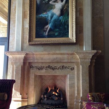 Living room Fireplace with Italian Mantle - Colorado Fireplace- Richard Hall
