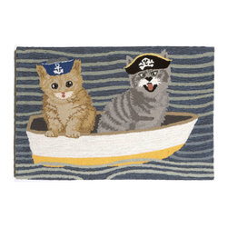 "Trans-Ocean Inc - Puss In Boat Blue 20"" x 30"" Indoor/Outdoor Rug - Richly blended colors add vitality and sophistication to playful novelty designs. Lightweight loosely tufted Indoor Outdoor rugs made of synthetic materials in China and UV stabilized to resist fading. These whimsical rugs are sure to liven up any indoor or outdoor space, and their easy care and durability make them ideal for kitchens, bathrooms, and porches; Primary color: Blue;"