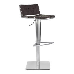 Safavieh - Safavieh Mitchell Gas Lift Barstool X-C1003XOF - The Mitchell Gas Lift Barstool offers stylish comfortable seating that adjusts with the flip of a lever. Its sturdy square base, sleek pedestal and footrest in stainless steel are contrasted seats and backs in basket-woven strips of brown bonded-leather.