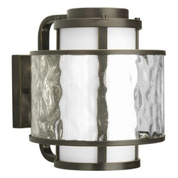 """Progress Lighting - Progress Lighting P5851-20 Bay Court 11-5/8"""" 1 Light Outdoor Wall Lantern in Ant - A dual shade outdoor wall lantern features an etched opal glass inner shade and a clear seedy glass outer shade.ADA Compliant: No Bulb Included: No Bulb Type: Incandescent Collection: Bay Court DarkSky: No Depth: 13-3 8 Energy Star Compliant: No Finish: Antique Bronze Glass: Etched Opal Clear Seedy Height: 13-3 8 Height to Center: 7 Light Direction: Ambient Lighting LowVoltage: No Motion Sensor: No Number of Lights: 1 Photocell: No Shade Material: Glass Shade Shape: Cylinder Socket 1 Base: Medium Socket 1 Max Wattage: 100 Socket base: Medium Solar: No Style: Transitional Suggested Room Fit: Outdoor Title 22: No Title 24: No Wattage: 100 Weight: 14 Width: 11-5 8"""