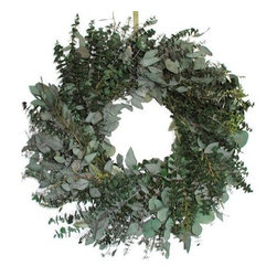 24 in. Emerald Bay Wreath - The 24 Inch Emerald Bay Wreath is thick and lush and gives off the subtle and fresh fragrance of eucalyptus. Crafted from baby spiral eucalyptus diamond leaf eucalyptus seeded eucalyptus and kiwi lepto you'll love the luxuriant look and feel of this wreath. Eucalyptus may bleed colors on walls and doors in high humidity and high temperature locations.The Flower DepotThe Flower Depot was founded in Tonganoxie Kansas in 1989 in a Depot that was originally built in 1868 by a Carpenter and his Apprentice. The Flower Depot started by growing drying and selling flowers that grew well in the area and slowly expanded. By 2000 The Flower Depot had bought a warehouse and had expanded into gardening bird feeding pest control and environmental products. With their constantly changing product line you'll always be able to find a wide selection of dried and preserved florals silks and pre-made wreaths along with a large assortment of gardening products and tools.