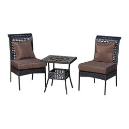 """Fire Sense - Fire Sense 61544 Zuni All Weather Wicker 3pc. Bistro Set - Our new Zuni Bistro Set includes two all weather wicker chairs and a 20""""x20"""" table with mosaic tile top. This lightweight yet durable bistro set is perfect for breakfasts in the morning or an afternoon tea for two. The attractive mocha finish is the perfect accent for any patio. Our bistro set can be used all year round and provides a maintenance free outdoor seating experience."""