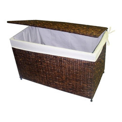 America Basket - Woven Maize Storage Chest in Rich Walnut Finish - Crafted to fold flat for easy storage, this versatile chest will bring a tropical infused spirit to any decor. Finished in rich walnut, the chest is crafted of woven maize and features a fabric liner, making it perfect for extra linens, seasonal clothing and much, much more. Versatile, handcrafted woven maize storage chest. Built with a knock-down design for easy storage and transport. Decorative maize storage chest features a Rich Walnut color. Ideal choice for a flexible and stylish storage solution. Decorative accessories will add warmth and style to your home decor. Made of high-quality maize with a metal frame for strength and durability. 32 in. L x 18 in. W x 20 in. H (16 lbs.)