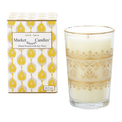 Market Street Candles - Gold Lace Moroccan Candle - Our signature imported Moroccan tea glass, hand poured with soy wax in the USA, is packaged in a decorative gift box, making it the perfect gift just as they are!