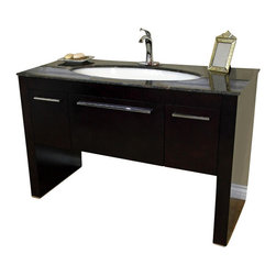 "Bella Terra - Bellaterra 55.3"" Single Sink Vanity in Dark Walnut- Baltic Brown Marble - The unique styling gives this modern vanity a beautiful appearance, very dramatic, allowing the overall design and beauty to make an incredible statement in your bathroom. This vanity set is truly an awesome piece, completely original and completely unique - it's definitely cutting edge contemporary bathroom design. The vanity is made with all wood, finished in dark walnut finish, properly sealed to stand against bathroom humidity. The unique leaf shape sink is hard to find in the market. The cabinet is completely assembled, and installed with genuine Blum soft closing drawer glides. Genuine polishedTan Brown marble top and high quality leaf shape white vitreous china sinks."