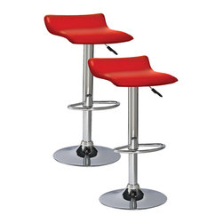 """Leick Furniture - Red Adjustable Swivel Stool - Set of 2 - Heavy duty cylinders offer a versatile seat for counter height, bar height or anything in between. Full swivel seats and sturdy footrests deliver comfort in this bold chrome and faux leather beauty.; finish:chrome/red pvc seat; steel and plywood construction; simple assembly in minutes; swivel seat; adjustable height; heavy gauge air cyliinder; Dimensions: 15""""W x 15""""L x 25 to 34""""H"""