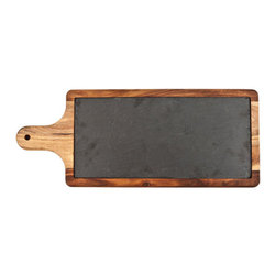 Inova Team -Rustic Slate and Wood Paddle - Rustic style looks great at high-class occasions. Take this handsome cheese board, which mixes gorgeous heavy-grained acacia wood with a top in natural slate. Your cheeses and other appetizers will look amazing labeled and presented on its charming, countrified surface.