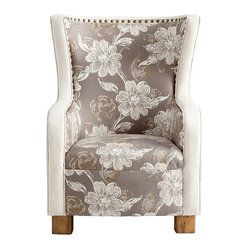 Cyan - J. P. Buttercup Chair - Let all your dreams about comfy, stylish seating take flight. This stylized wing chair features a hardwood frame with exposed rustic wood feet. The fabric finishes are the stuff that dreams are made of: a combination of natural and taupe floral fabrics outlined in nailhead trim to finish your room.
