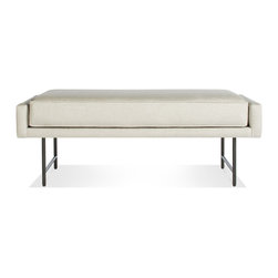 Blu Dot - Blu Dot Bank Bench, Linen-Metal - A poised piped cushion is at the ready to serve a variety of seating needs from the entry way to the bedroom. Choose either blackened metal or brass legs. Available in five fabrics options.