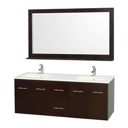 Wyndham - Centra Vanity Double 60in. in Espresso w/ White Stone Top & Square sinks - Simplicity and elegance combine in the perfect lines of the Centra vanity by the Wyndham Collection. If cutting-edge contemporary design is your style then the Centra vanity is for you - modern, chic and built to last a lifetime. Available with green glass, white carrera marble or pure white man-made stone counters, and featuring soft close door hinges and drawer glides, you'll never hear a noisy door again! The Centra comes with porcelain, marble or granite sinks and matching mirrors. Meticulously finished with brushed chrome hardware, the attention to detail on this beautiful vanity is second to none.