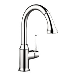 Hansgrohe - Hansgrohe 4215000 Talis C Higharc Single Hole Kitchen Faucet w/ Pull Down 2 Spra - Higharc Single Hole Kitchen Faucet w/ Pull Down 2 Spray in Chrome belongs to Kitchen Collection by Hansgrohe In homes today, theres a place undergoing a radical transformation of uncompromising style-- the kitchen. This is the second most occupied place in modern dwellings. Hangrohes Talis C Prep kitchen faucet offers remarkable functionality with individual personality and style. Innovative features such as the M2 velvety smooth ceramic cartridge valve, the quiet, nylon pull-out hose and the ergonomic, two-function spray head make this the top choice in faucets. The modern design of the Talis C Prep kitchen faucet coordinates flawlessly with any kitchen decor. The Talis C Prep's solid brass construction is finished with a smooth chrome finish. The improved handle design prevents interference with the backsplash while the faucet's high spout and pull-down spray are perfect for cleaning large cookware, preparing food and cleaning.  Faucet (1)