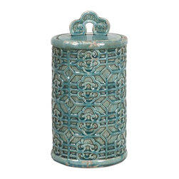 Kendall Teal Canister- Large - Bring a taste of the orient to your home. This large Kendall Teal Canister's vibrant color can brighten your home.