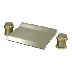 "Kingston Brass - Waterfall Roman Tub Filler - Two Handle Deck Mount, 2 Hole Sink Application, 12"" to 20"" Widespread, Fabricated from solid brass material for durability and reliability, Premium color finish resists tarnishing and corrosion, 1/4 turn On/Off water control mechanism, 3/4"" IPS inlets, Ceramic disc valve, 2.2 GPM (8.3 LPM) Max at 60 PSI, Integrated removable aerator, 3-3/8"" spout reach, Ten Year Limited Warranty to the original consumer to be free from defects in material and finish.; Drip-free ceramic cartridge; 3-hole installation; 12"" to 20"" spread; 3/4"" IPS; All mounting hardware included; Material: Brass; Finish: Satin Nickel/Polished Brass; Collection: Milano"