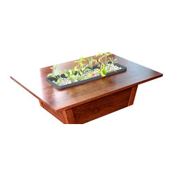 GreenTowers - Living Table, Dark Charcoal (Planter Box), Solid Cherry Hardwood Tabletop - Deliver a piece of nature directly into your indoor residential or office environment.  A self-contained ecosystem that can be used to grow edibles or ornamentals, these beautiful aquaponic gardens are handcrafted with love from local Central Pennsylvania cherry hardwood.  The Living Table is low maintenance and arrives fully assembled with starter seed kits—upon delivery, simply add water and fish to the freshwater aquarium!