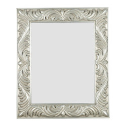 """Kenroy Home - Antoinette Rectangular Wall Mirror in Antique Silver - Flirty flourishes dance around a wide Gilded Antique Silver framed masterpiece reflecting Old World glamour and style. Features: -Wall mirror. -Antoinette collection. -Gilded Antique silver finish. -Beveled Mirror. -Frame Construction: Wood. -Can be mounted vertically or horizontally . Specifications: -Mirror size: 28"""" H x 22"""" W. -Mirror bevel dimensions: 1.25"""". -Overall dimensions: 38"""" H x 32"""" W."""